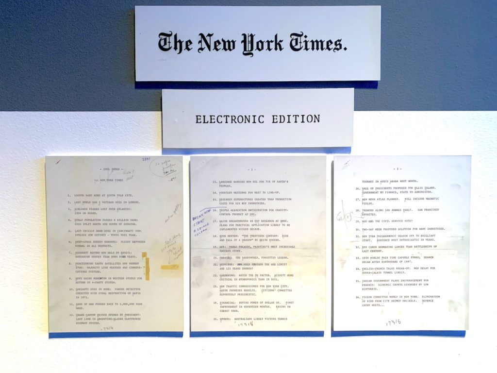 Documents listing proposed headlines for the New York Times Electronic Edition in 2001. Image: Ben Davis.