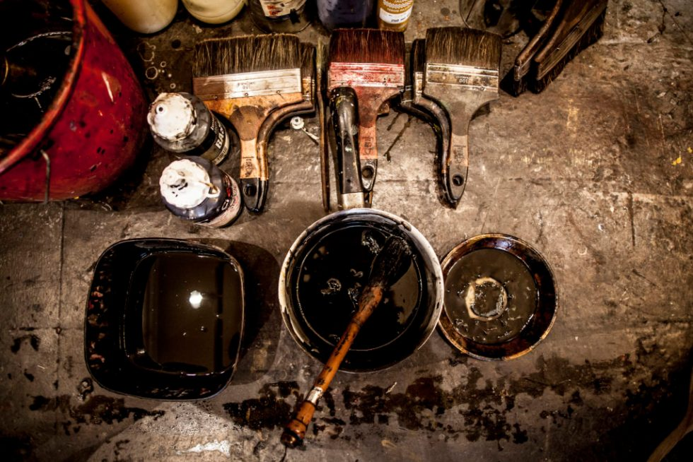 Supplies in an artist's studio. Photo by Stephane Grangier/Corbis/Getty Images.