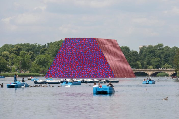 Christo and Jeanne-Claude, The London Mastaba (2016–18), Serpentine Lake, Hyde Park. Photo by Wolfgang Volz, ©2018 Christo.