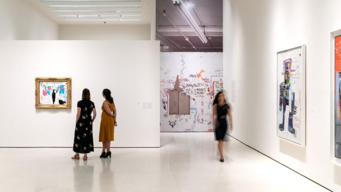 """Installation view of """"Basquiat: Defacement"""" at the Guggenheim. Courtesy of the Guggenheim."""