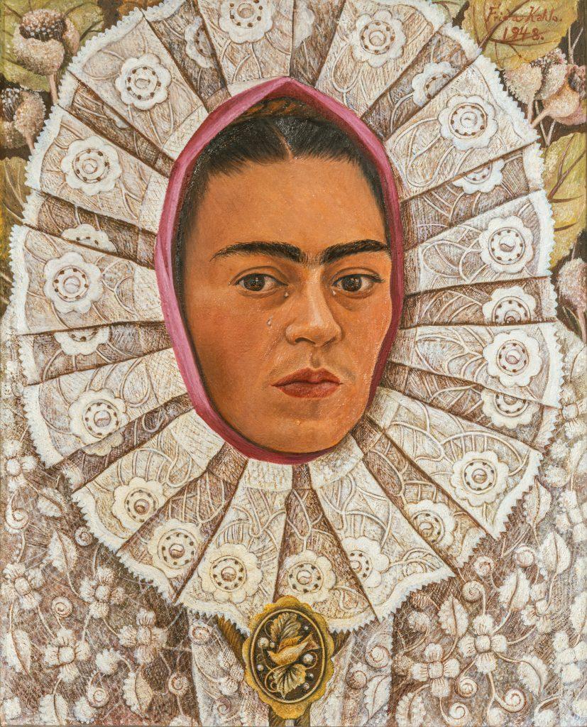 Frida Kahlo, <em>Self-portrait (for Samuel Fastlicht)</em>, 1948. Photo by akg-images, ©Banco de Mexico Diego Rivera Frida Kahlo Museums Trust/VG Bild-Kunst, Bonn 2021; reproduction authorized by the Instituto Nacional de Bellas Artes y Literatura, 2021.