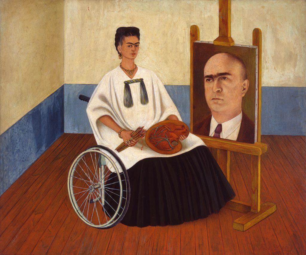Frida Kahlo, <em>Self-portrait (with Dr. Farill)</eM>, 1951. Photo by Rafael Doniz, courtesy Hauser & Wirth Collection Services, ©Banco de Mexico Diego Rivera Frida Kahlo Museums Trust/VG Bild-Kunst, Bonn 2021; reproduction authorized by the Instituto Nacional de Bellas Artes y Literatura, 2021.