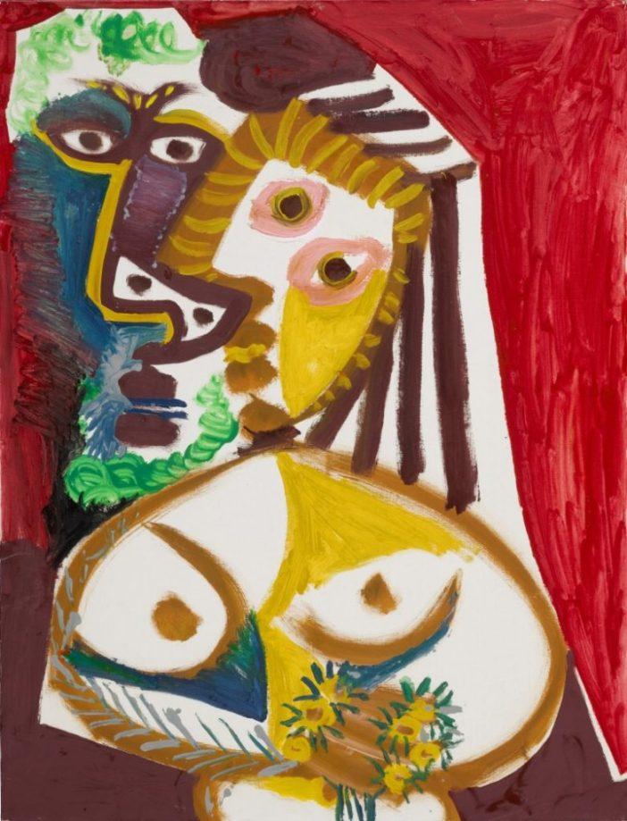 Pablo Picasso,Homme et femme au bouquet(1970). Courtesy of Sotheby's.