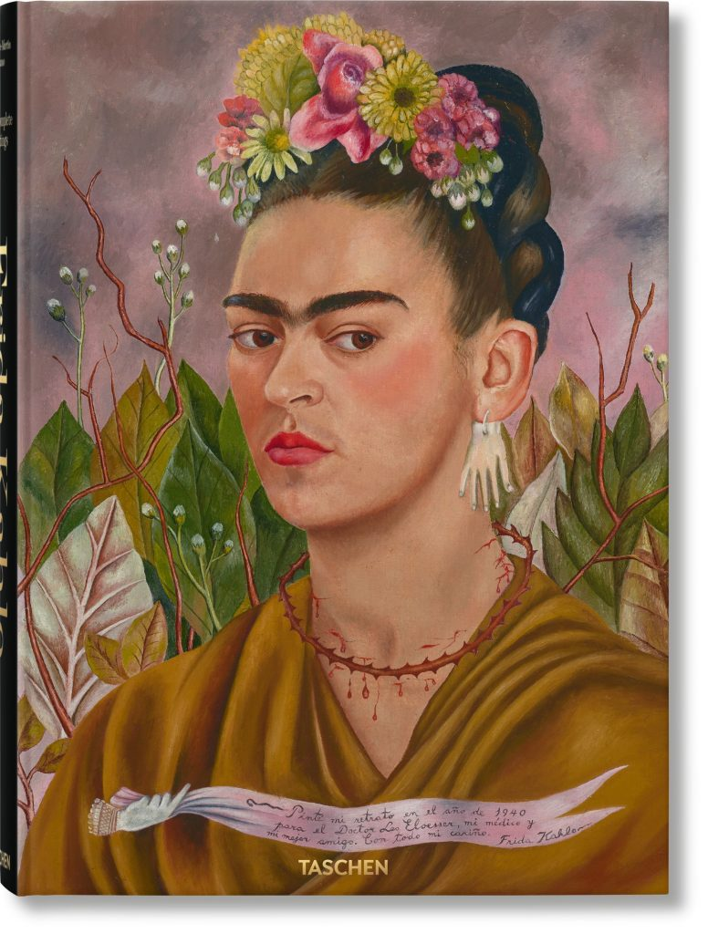 Frida Kahlo: The Complete Paintings by Luis-Martín Lozano, Andrea Kettenmann, and Marina Vázquez Ramos. The cover painting is Kahlo's Self-portrait (Dedicatedto Doctor Leo Eloesser), 1940, from a private collection, Lucas Museum of Narrative Art, Los Angeles. Courtesy of Taschen.