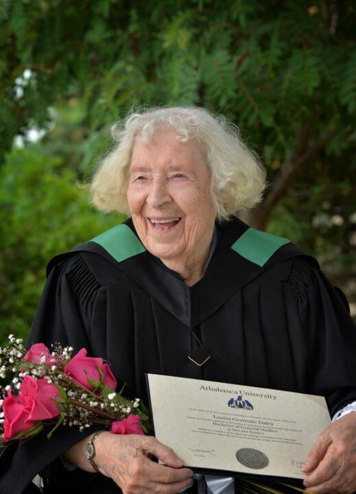 photo of louisa receiving her degree