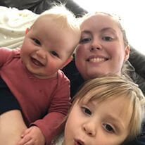 Mom and two little girls selfie