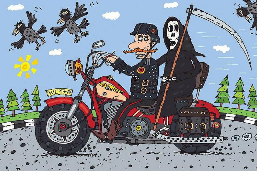 Смешные рисунки про байкеров