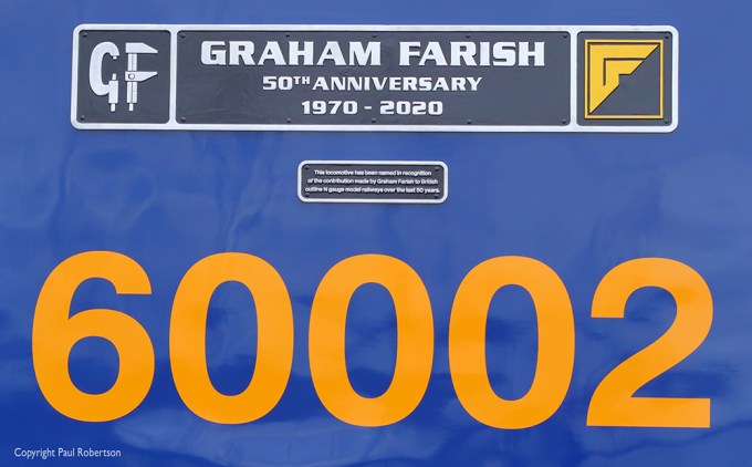Image taken on March 1st 2021 of GB Railfreight Class 60 No. 60002 emerged from Toton Works carrying the name 'Graham Farish – 50th Anniversary 1970 - 2020'.