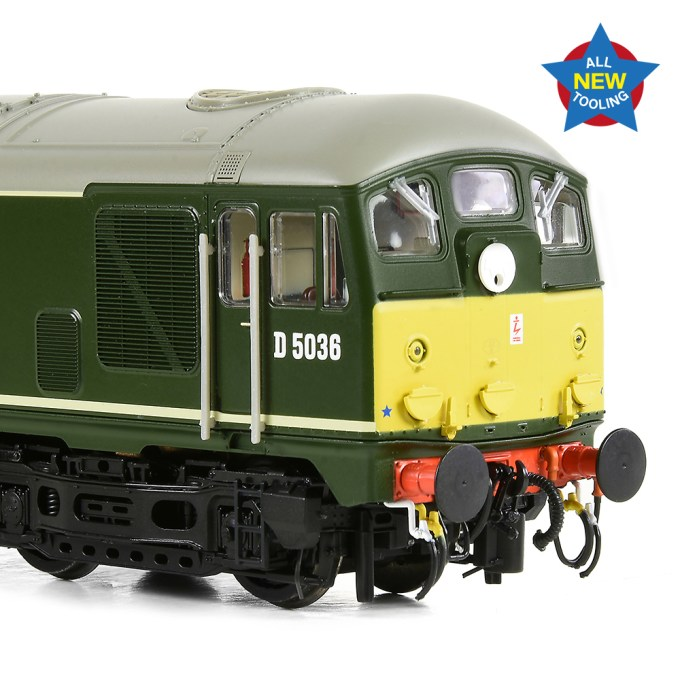 Newly tooled Disc code Class 24 in BR Green with Small Yellow Panels showing the a detailed Image of the cab