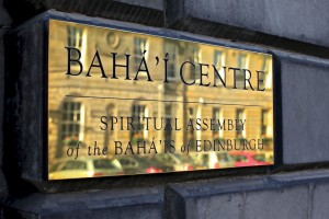 Edinburgh Baha'i Centre nameplate