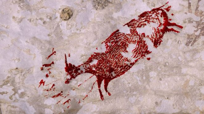 Sulawesi Animal painting cave 44000 years old