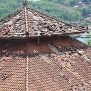 Monkeys destroying rooftop temple in Padang Bai
