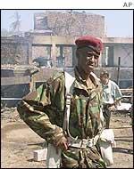 Kenyan soldier outside bombed Paradise Hotel