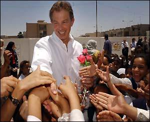 Tony Blair meets school children in Basra