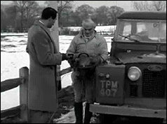 Peter Hicks talking to BBC's Leonard Parkin holding electrical device