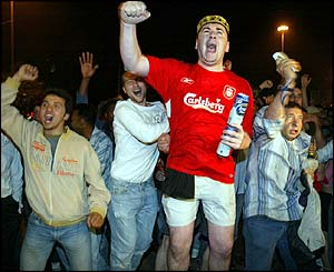 Liverpool fans without tickets enjoy the win in Istanbul's Taksim square