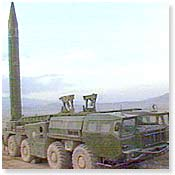 An Iraqi mobile Scud missile launcher