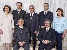 Bahai leaders jailed in Iran, from left Fariba Kamalabadi, Vahid  Tizfahm, Behrouz Tavakkoli, Jamaloddin Khanjani, Afif Naeimi, Saeid  Rezaie and Mahvash Sabet (courtesy of Bahai International Community)