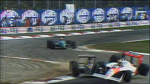 Jean-Louis Schlesser crashes into Ayrton Senna