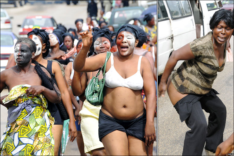 Women protesting Gabon