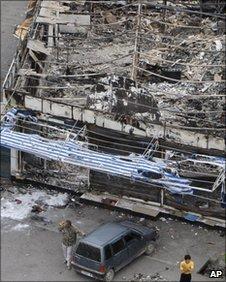 Burned buildings in Osh, Kyrgyzstan, on 17 June, 2010.