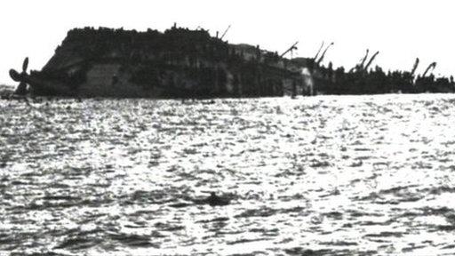 The Lancastria after capsizing (image: BBC)