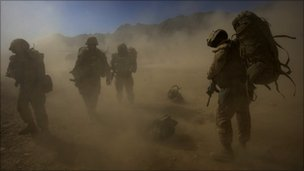 US troops in a sand storm, Kandahar (file photo0