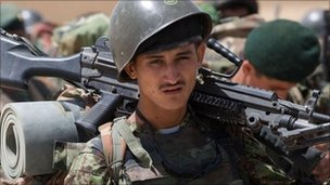 Afghan soldier ahead of an operation in Helmand province - 17 July 2010