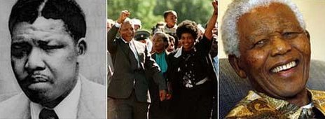 Left: A 1961 photo of Nelson Mandela (AP); Centre: Mr Mandela and his then-wife on his release from prison in 1990 (AFP); Right: Mr Mandela pictured in 2007 (AP)