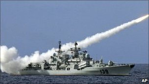 China's People's Liberation Army testing missiles in the South China Sea, 29 July 2010