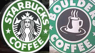 logos of Starbucks and the Boulders Coffee Lounge, Borth