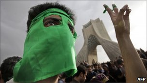 Opposition supporter during a rally in Tehran, 15 June 2009