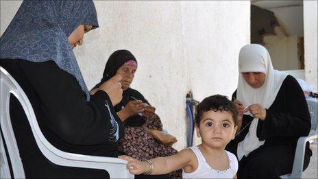 Palestinian women knitting skull-caps in Lobban al-Gharbia