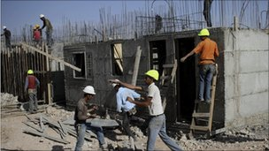 A construction site in the West Bank Jewish settlement of Kiryat Arba, near Hebron, 20 October