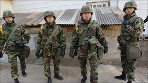 South Korean soldiers on Yeonpyeong island