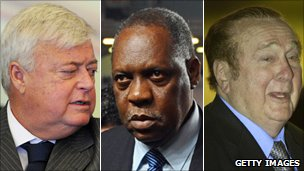 Fifa executives Ricardo Teixeira (l), Issa Hayatou and Nicolas Leoz (r)