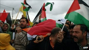 The body of Jawaher Abu Rahmeh is carried by Palestinians in Bilin (1 January 2010)