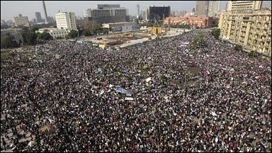 Crowds in Tahrir Square, Cairo, 1 February 2011