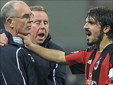 Tottenham assistant manager Joe Jordan (left) and Gennaro Gattuso clash during the game at the San Siro