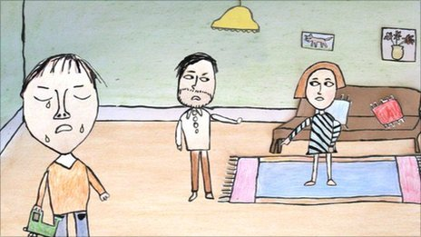 Cartoon of parents and child