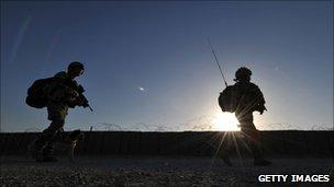 UK troops on patrol in Afghanistan