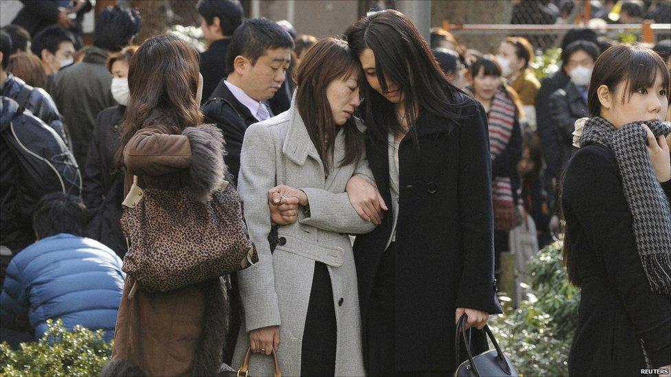 Evacuees in Shinjuku Central Park, Tokyo, Japan (11 March 2011)