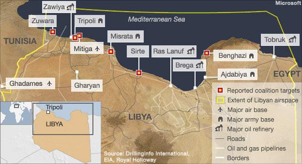 Libya airstrikes map