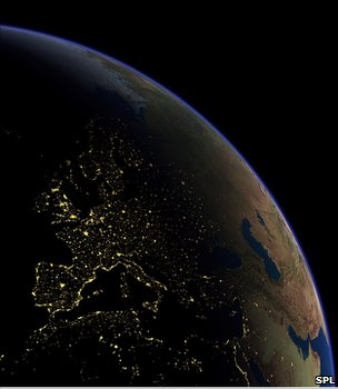 Graphic showing Europe at night (Image: Science Photo Library)