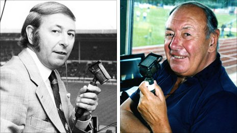 David Coleman commentating in the 1970s and more recently (right)