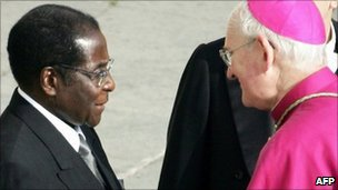 Zimbabwean President Robert Mugabe with Bishop James Harvey at the Vatican in 2005 for funeral of Pope John Paul II - 8 April 2005