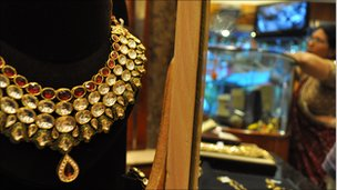 Gold necklace at store in Mumbai