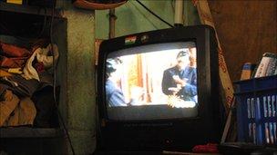 A television in Nazarath Peth village in Tamil Nadu