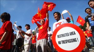 Protesters shout anti-China slogans during a protest in Hanoi, 5 June 2011.