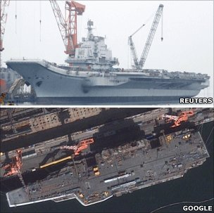 China's aircraft carrier is seen under construction in Dalian, Liaoning province (April 2011) (above) and on Google Maps (below)